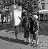 Tourists try out the new information boards in Kingsmead Square, Bath, c.1980s