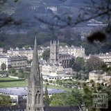 The spire of St John the Evangelist Church with St Mary's Bathwick in the background, Bath, c.1982