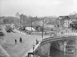 The Old Bridge, Bath, viewed from the railway viaduct, c.1963