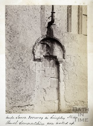 Saxon doorway in Limpley Stoke Church, now walled up c.1885
