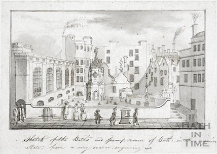 A View of the King's and Queen's Baths, including the Great Pump Room, Bath c.1780