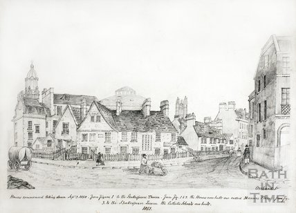 Sketch of houses Old Orchard Street before Manvers Place, Bath 1851