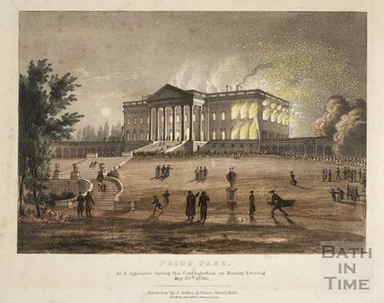 Prior Park, Bath. As it appeared during the Conflagration on Monday Evening May 30th 1836