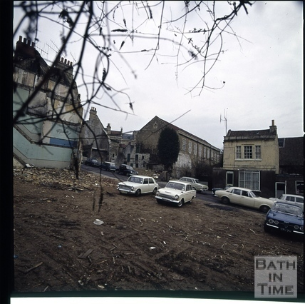 Snowdon. Morford Street and view of old tennis courts (now Museum of Bath at Work), Bath 1972