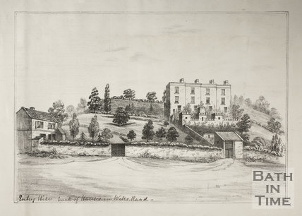 Entry Hill, back of houses in Wells Road, Bath c.1850