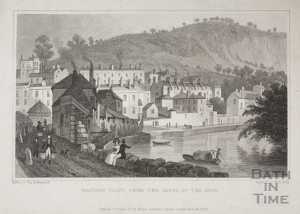 Beachen Cliff (Beechen Cliff), from the Banks of the River Avon, Bath 1829
