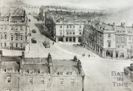 The proposed improvement at the junction of George Street and Gay Street, showing arcaded treatment as in Bath Street, Bath