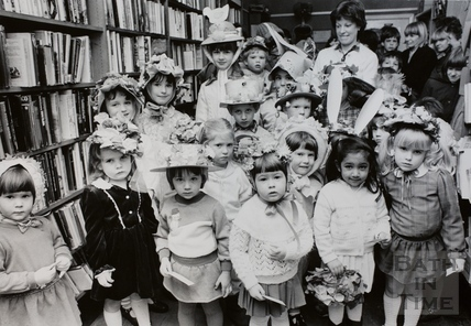 Easter bonnets at Moorland Road Library, Oldfield Park, Bath 1986