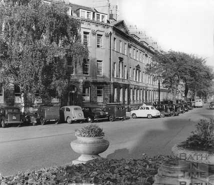 Cars parked in Laura Place, Bath c.1960
