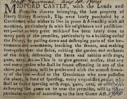 Midford Castle - A plea from the new owners 1788