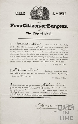 The Oath of a Free Citizen, or Burgess, of the City of Bath 1852