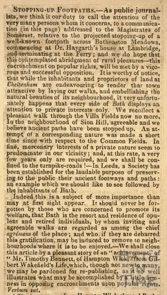 Stopping up footpaths from Lambridge, Bath to Bathampton Ferry 1826