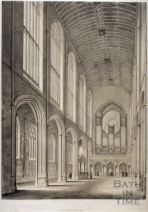 Interior view of Bath Abbey Church, Bath 1845