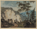 Mountain landscape, with horse and cart and three men working in the foreground