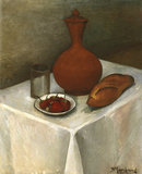 Still life with earthenware jug, loaf and strawberries