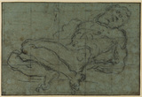 Nude male figure reclining with both arms behind his back; squared for transference (recto)