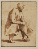Seated figure of an elderly man turned to the right