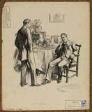Illustration to 'The Entrance of Tobias - two men conversing before a dinner table