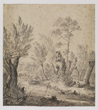 Landscape with stream and family on bank