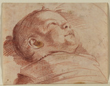 Head and shoulders of a child lying down