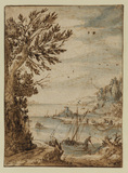 Landscape with a river and small boats