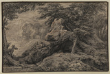 Rocky and wooded landscape with figures