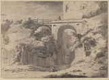 Landscape with a viaduct (recto)