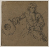 Half-length study of a cavalier saluting with his hat