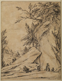 Rocky landscape with figures, some on horseback