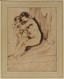 Nude woman, seated, embracing a child