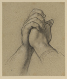 Two hands clasped together