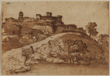 Landscape with walled town on a hill