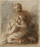 Female figure playing the lute