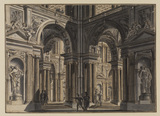 Interior of a temple or palace with figures