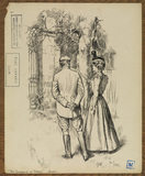 Illustration to 'The Entrance of Tobias - woman with parasol and man in riding clothes