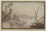 Coast scene with tower and shipping