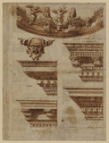 Study of five entablatures and architectual ornament (recto)