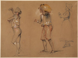 Studies of Spanish figures - a. male dancer, b. male water-carrier, c. young woman playing castanets