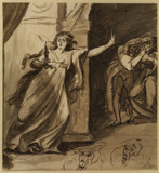 Lady Macbeth sleep-walking with two studies for the head and left hand of the male figure, right