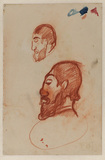 Two studies of the head of a bearded man (recto)