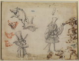 Sheet of caricatures and studies (verso)
