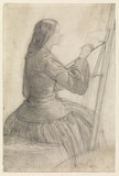 Elizabeth Siddal seated at an easel, painting
