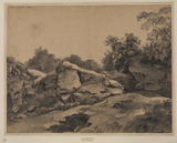 Rocky landscape with artist