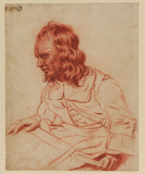 Half-length seated figure of a leather worker