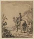 Cavalryman riding along a road (recto)