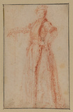 Study of a female figure, standing (recto)