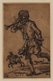 Man running, a horse and rider, and a dog