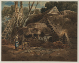 Farmyard with barns, ladder and figures