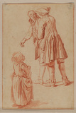 Two men, one with bandage over his eye; a young girl (recto)