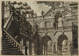 Exterior of a palace with garden and trees (recto)